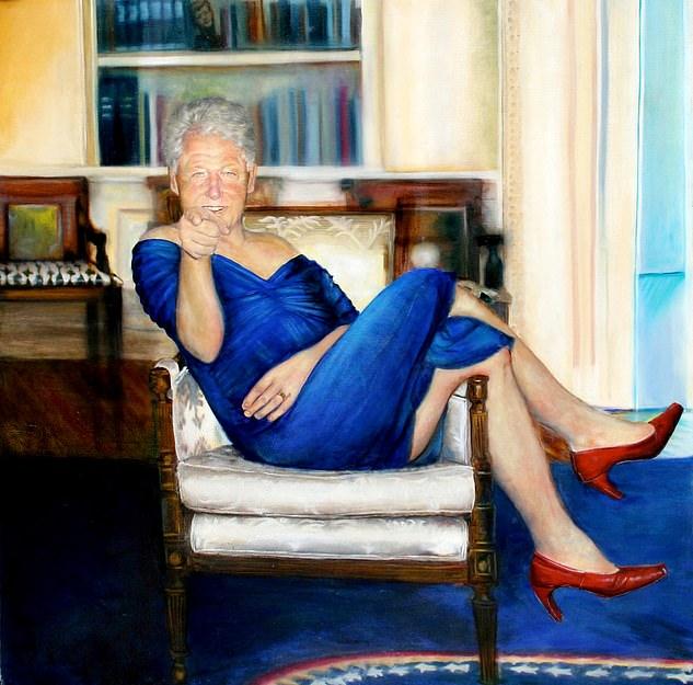 Bill Clintont ábrázoló műalkotás Epstein New York-i palotájában